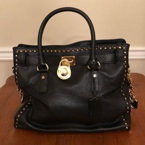 Michael Kors Hamilton black leather bag